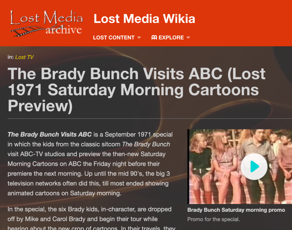 Link to Lost Media Wikia